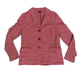 Talbots Red & White Stripe Cotton Blazer Sz Large